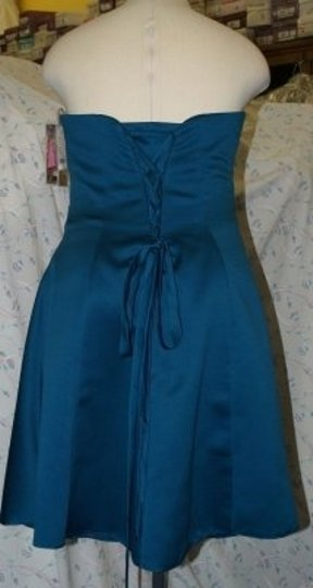 Forever Yours International Blue Satin Short Teal Jacket #a79105 Modern Bridesmaid/Mob Dress Size 16 (XL, Plus 0x)