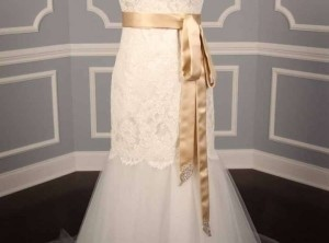 Your Dream Dress Exclusive Crystal Beaded Champagne B524 Satin Sash