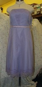 Forever Yours International Purple T-length Lilac/pink Dress Size: 16 #76116 Lilac Lavender Pink Belt Strapless Tulle Beaded Dress