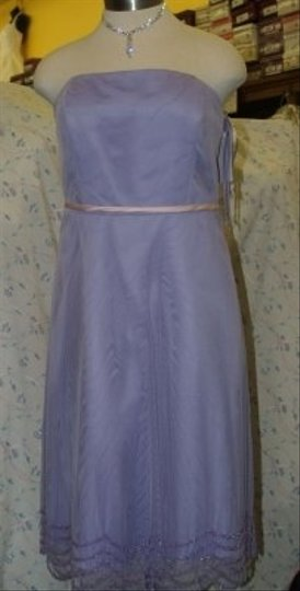 Forever Yours International Purple Tulle Netting T-length Lilac/Pink #761 Lilac Lavender Pink Belt Strapless Beaded Formal Bridesmaid/Mob Dress Size 16 (XL, Plus 0x)