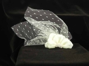 Jennifer Leigh Couture Veils and Accessories Ivory with Silk Dotted Netting Velvet Flower with Pearls Stacie Hairclip