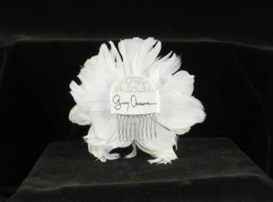 Light Ivory Real Feathers and Swarovski Crystals Fg03 Comb Hair Accessory
