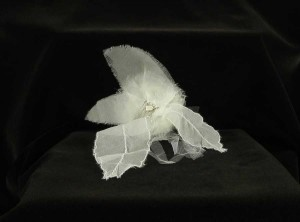 Paris by Debra Moreland Light Ivory with Silk Organza & Tulle On A Silver Comb Curly Top Hair Accessory