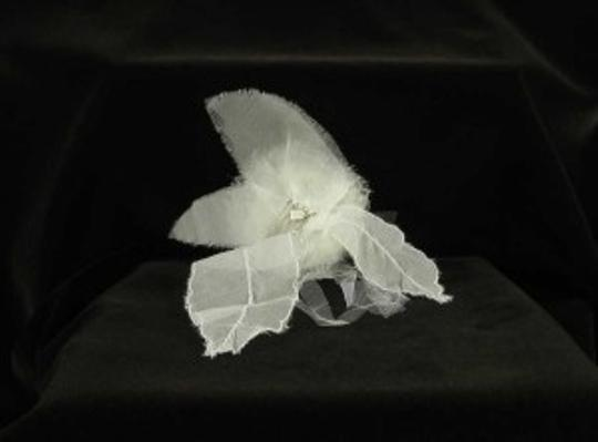 Light Ivory with Silk Organza & Tulle On A Silver Comb Paris Curly Top Hair Accessory