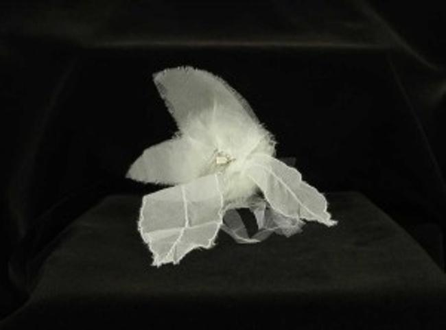 Paris by Debra Moreland Light Ivory with Silk Organza & Tulle On A Silver Comb Curly Top Hair Accessory Paris by Debra Moreland Light Ivory with Silk Organza & Tulle On A Silver Comb Curly Top Hair Accessory Image 1