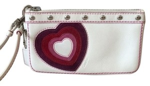 Coach Heart Leather Wristlet in white