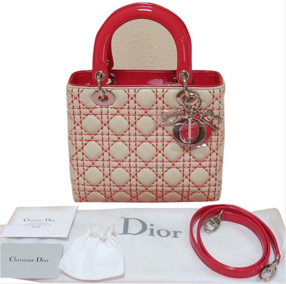 8d5695d286 Dior Lady New Limited Edition Medium Beige and Light Red (See Pictures)  Lambskin Patent Leather Tote 28% off retail