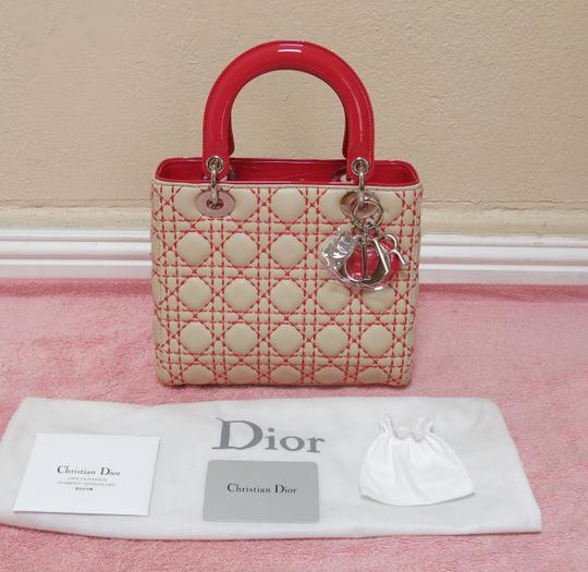 Dior Lady Clutch Tote in Beige and Light Red (see pictures)