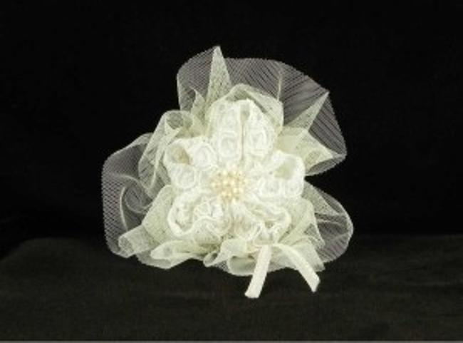 Jennifer Leigh Couture Veils and Accessories Ivory with Alencon Lace Tulle & Pearls Nina Hairclip Hair Accessory Jennifer Leigh Couture Veils and Accessories Ivory with Alencon Lace Tulle & Pearls Nina Hairclip Hair Accessory Image 1