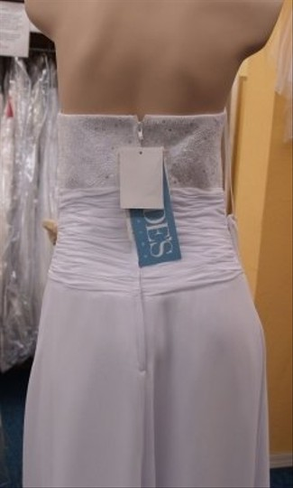 Jordan Fashions White Chiffon Long Gown #p300 Traditional Wedding Dress Size 6 (S)