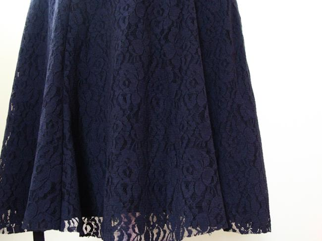 Other Lace Above Knee Swing A-line Skirt Black