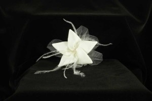 Light Ivory with Silk Mikado Feathers Tulle & Swarovski Crystal Jennifer Leigh Roxy Hairclip Hair Accessory