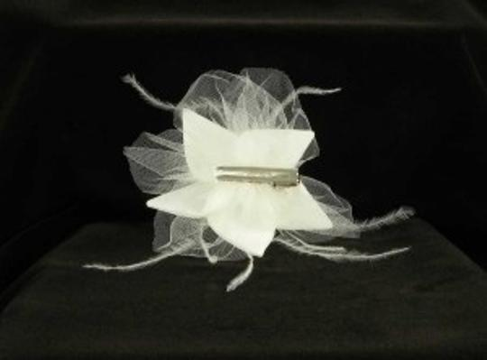Jennifer Leigh Couture Veils and Accessories Light Ivory with Silk Mikado Feathers Tulle & Swarovski Crystal Roxy Hairclip Hair Accessory Image 1