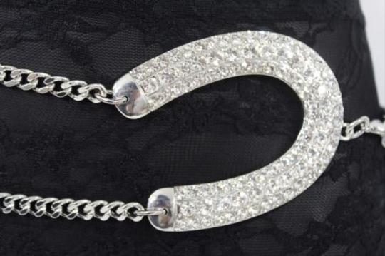 Other Women Fashion Belt Waist Silver Metal Thick Double Chain Horseshoe
