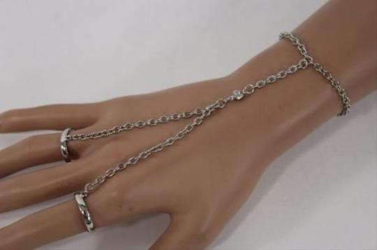 Other Women Silver Metal Thin Hand Chain Bracelet Fashion Slave Double Ring Stone
