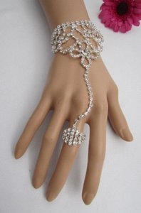Other Women Bracelet Hand Chain Silver Flower Wave Rhinestones Fashion Slave Ring
