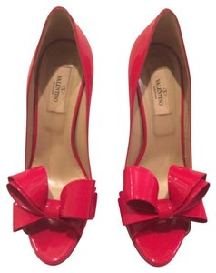 Valentino Patent Leather Bow Red Pumps