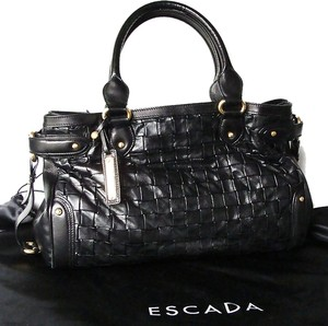 Escada Leather Margaretha Ley Tote Satchel in Black