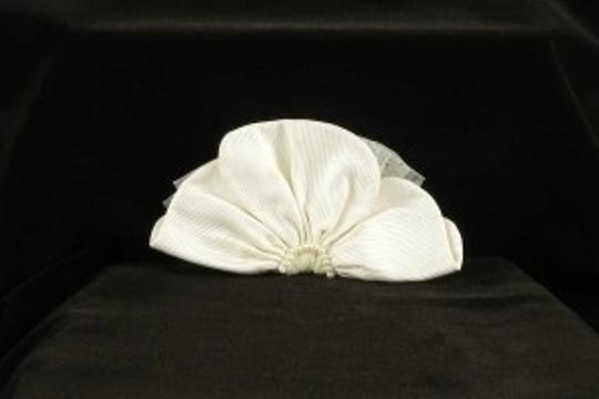 Ivory with Silk Faille Tulle and Ivory Pearls Jennifer Leigh Ginger Hairclip Hair Accessory