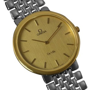 Omega Omega DeVille Mens Midsize Dress Watch - 18K Gold Plated & Stainless Steel