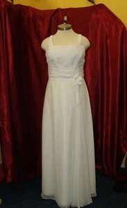 White Chiffon Long Bridal Gown Jordan #818 Destination Wedding Dress Size 16 (XL, Plus 0x)