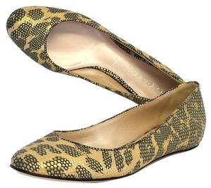 Casadei Gold Metallic Print Leather Leopard Flats