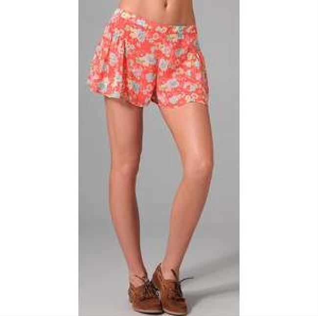 Free People Floral Mini/Short Shorts Coral Floral