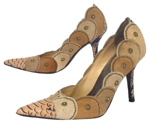 Isabella Fiore Tan Sudded Calf Hair Pumps