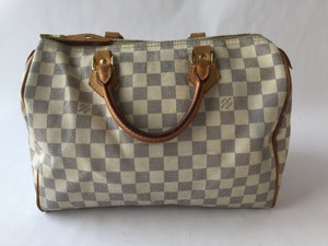 Louis Vuitton Speedy Damier Satchel in White/Damier Azur