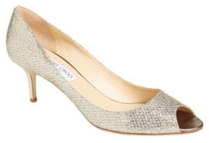 Jimmy Choo Italian European Exclusive Open Toe Sandal Glitter Silverescent Sparkle Leather Formal Classic Silver Pumps
