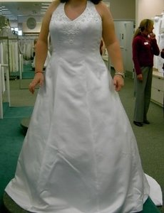David's Bridal White Satin Style Number: 13010201 Traditional Wedding Dress Size 16 (XL, Plus 0x)