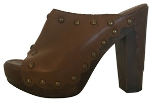 Stuart Weitzman Studded Brown Mules
