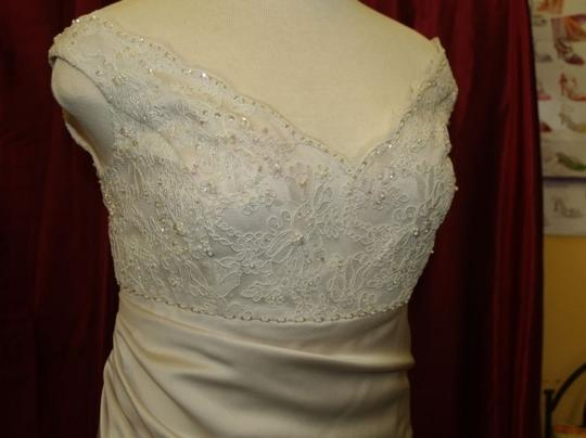Champagne Satin Long Bridal Gown Pearl Color #4007 Traditional Wedding Dress Size 16 (XL, Plus 0x)