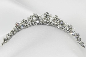 Toni Federici Crystals & White Pearls Winter Headpiece Tiara