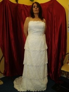 Diamond Silk White Lace Marianno Long Bridal Gown M962 Strapless Beaded Chapel Length Train