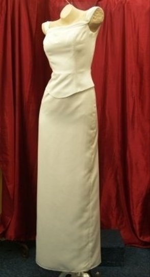 Jordan Fashions White Satin Bridal Long Gown #603 Off The Shoulders Fitted Mock Piece Sweep Train Fitted Form Fitting Sexy Dress Size 2 (XS)
