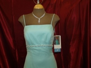 Jordan Fashions Aqua Jordan Fashions Long Dress Floor Length Size 1 Aqua Color #410 Size 1 Beach Wedding Aqua Chiffon Spaghetti Straps Beaded Dress