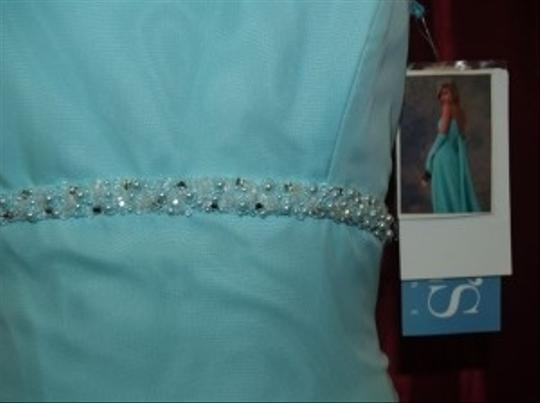 Jordan Fashions Aqua Chiffon Floor Length Color #410 Beach Spaghetti Straps Beaded Destination Prom Special Bridesmaid/Mob Dress Size 2 (XS)