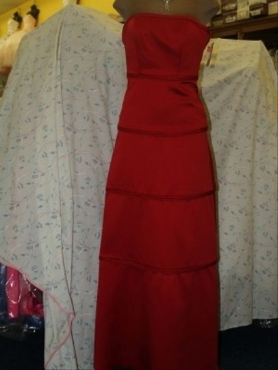 Jordan Fashions Cherry Red Satin #803 Strapless Floor Length Prom Unique Formal Bridesmaid/Mob Dress Size 0 (XS)