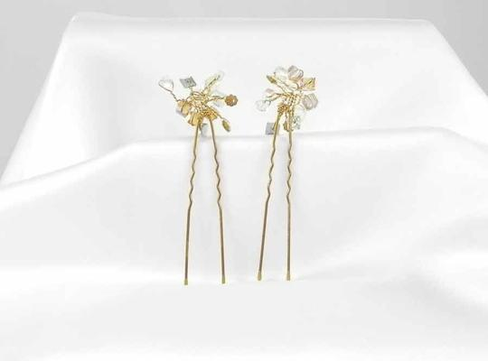 Toni Federici Clear & Cognac Crystals On Gold Pins Tf291 Hair Accessory