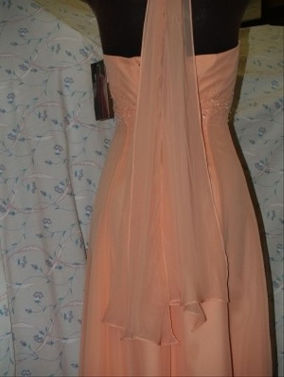 Jordan Fashions Orange/ Apricot Chiffon #813 1 1 Halter Top Silver Beaded Floor Length Wear Prom Traditional Dress Size Other