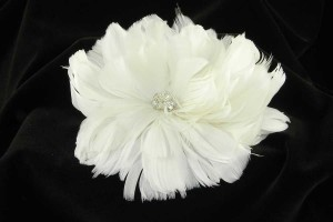 Light Ivory and Swarovski Crystals Fg09 Real Feather Comb Hair Accessory