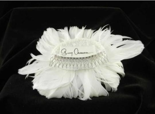Light Ivory and Swarovski Crystals Fg09 Real Feather Comb Hair Accessories