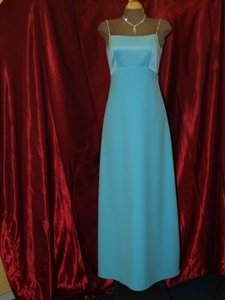 Jordan Fashions Tiffany Blue Crepe Back Satin New #141 Feminine Bridesmaid/Mob Dress Size 2 (XS)