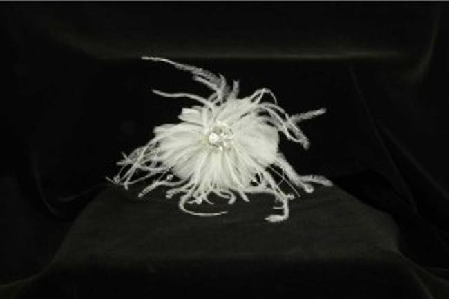 Light Ivory with Crystals and Real Feathers Your Dream Dress Exclusive Sfl819 Comb Hair Accessory Light Ivory with Crystals and Real Feathers Your Dream Dress Exclusive Sfl819 Comb Hair Accessory Image 1