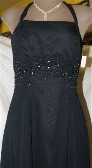 Jordan Fashions Black Chiffon New #813 Beaded Halter Top Halter Straps A Line Silver Bridesmaid/Mob Dress Size 4 (S)