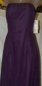 Jordan Fashions Plum Chiffon #419 Strapless Beaded Purple Feminine Bridesmaid/Mob Dress Size 4 (S)