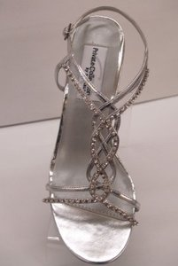 Dyeables Silver Striking Crystals Bling Prom Formal Special Occasion Strappy Sandals Sexy Size US 6 Regular (M, B)