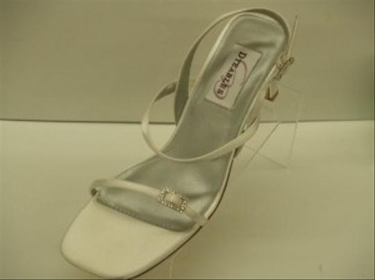 Dyeables White Grandeur New Thin Strappy Rhinestone Buckles Elegant Sandals Size US 6 Regular (M, B)