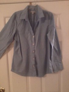 Old Navy Western Shirt Shirt Button Down Shirt Blue & White Stripe